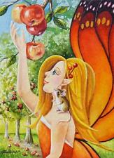 40% OFF SALE ACEO Limited Edition Print Pixie 4 Autumn Mouse Apple Orchard Fairy