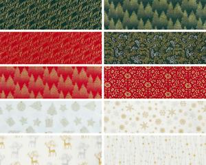 Christmas Fabrics Metallic Silver / Gold 100% Cotton Quilting Craft Fat Quarters