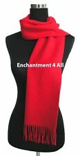 "New Handmade Classic 70""x11"" 100% 2-Ply Pure Cashmere Scarf Muffler, True Red"