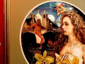 High Magic Beauty Blonde Nude Women Horse MOON Garden Surrealist VINTAGE Print