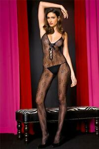 MUSIC LEGS Lace-Up Satin Bow and Buckle Lace Bodystocking