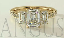 Real 14K Yellow gold 3.66ct Diamond Emerald cut Anniversary Engagement Ring