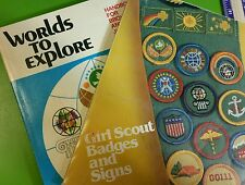 Vintage Worlds to Explore 1977 manual & Girl Scout Badges & Signs 1980