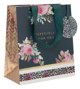 Teal and Gold Especially For You Luxury Gift Bag –Medium Floral Giftbag For Her