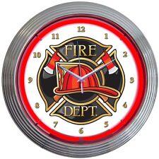 neon clock sign Fireman Fire Dept department wall lamp light wall hat axe shield
