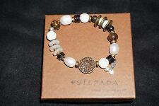 Silpada B1989 Pearl Bronzite Howlite Brass Sterling Silver  Stretch Bracelet