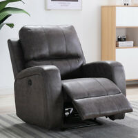 Electric Power Recliner Chair Luxury Suede Leather Free Angle Controled by Plug