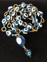 Vtg Blue & White Art Glass Evil Eye Heart Pendant Necklace Glass Spacers #22