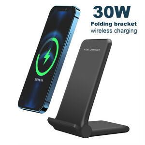 30W Qi Fast Wireless Charger Stand Dock Pad For iPhone 13 Pro 12 11 Samsung S21+