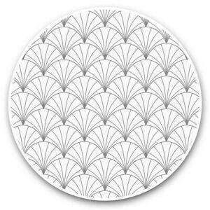 2 x Vinyl Stickers 15cm (bw) - Vintage Art Deco Pattern White Gold  #35516