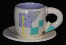 Vintage Rita Duvall Signed Postmodern Memphis Style Cup and Saucer Set From 1985