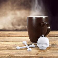 T in silicone Ossa Teschio Infusore Colino per tè a Foglie Sciolte FILTRO DIFFUSORE Mesh Goth