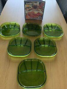 Vintage Glass Fondue Sushi Plates Green Mina Italy 1970s Fidenza Vitraria Mina