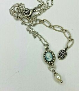 Michal Golan Sterling Silver Cameo Necklace w/ Freshwater Pearl Dangle