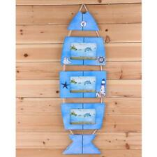 Wall Hanging Nautical Decor Wood Seaside Fish Triple Picture Photo Frame