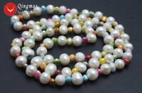 8-9mm Round White Natural Long Pearl Necklace Women & 5mm Multicolor Pearl 30''