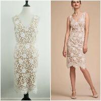 BHLDN Anthropologie Lace & Sequins Hansel Sheath Dress Wedding Cocktail Size 8