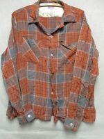 W3389 Ensenada Burned Orange/Gray Plaid Button Up 50s Gabardine Wool Shirt Men L