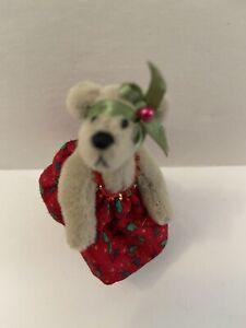 "NEW Little Gem Teddy Bears Red Dress Girl Bear 2.5""  w/Holly OLD STORE STOCK"