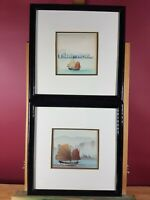 SAILING BOATS HONG KONG (???) TWO SMALL UNSIGNED MIXED MEDIA PICTURES