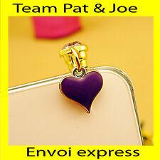 Bijou Portable Bouchon Anti Poussiere Coeur Violet pour Iphone Samsung Neuf