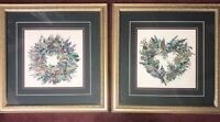 """A. Parker Lithograph Watercolors Herb Wreath I & II Framed 21.5""""x21.5"""" Signed"""