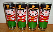 Set of 4 Tall Wooden Soldier/Nutcracker Drinking Glasses