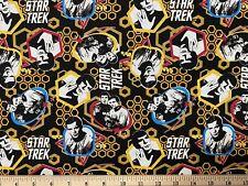 "RARE STAR TREK, Black 1/4 Yard (9"" x 43"") 100% Cotton Fabric, Tv Show, Sci Fi"