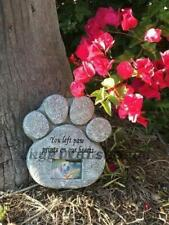 Paw Print Pet Memorial Stone Marker Grave Tombstone With Photo Frame NEW UK