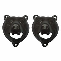 2pcs Cast Iron Wall Mount Grizzly Bear Beer Soda Bottle Opener Pub Bar Décor