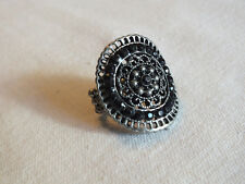 """Collectible Stretch Cocktail Ring Silver Tone Black Rhinestones 1 1/4"""" Face CUTE"""