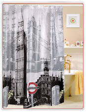 Bathroom Shower Curtain with London Big Ben Print Pattern 180 x 180cm with Hooks