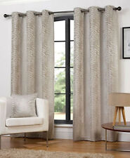 Modern Africa Ivory Animal Print Ready Made Ring Top Eyelet Curtains 66 X 72""