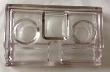 Antique Art Deco Inkwell - Thick, Heavy Beveled Glass Double Ink Pen Holder Tray