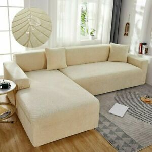 Waterproof L Shape Corner Sofa Cover Jacquard Fabric Slipcover Removable Covers