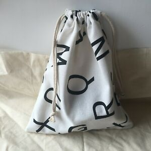 Cotton Linen Drawstring Organised Pouch Party Gift Bag Print Black English Le B#