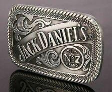 Jack Daniels  Metal Belt Buckle - Silver & Black antiqued look