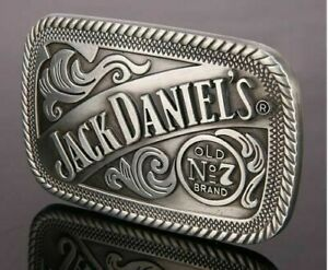 Jack Daniels  Metal Belt Buckle - Silver & Black antiqued look