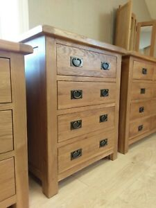 CHUNKY OAK 4 DRAWER CHEST - COMPACT BEDROOM DRAWERS - SOLID WOOD - 80CM WIDE