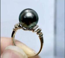 AAA Genuine Black Green Cultured Tahitian Sea Pearl Ring 18K Gold diamond 8#(16)