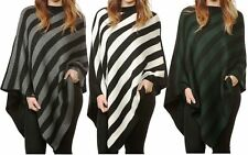WOMEN LADIES PONCHO KNITTED STRIPE ONE SIZE PLUS CREW NECK WARM SWEATER TOPS