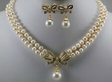 18k Yellow Gold GP 6-7mm White Pearl & Shell Pearl Pendant Necklace Earring Set