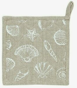 Clayre & Eef Topflappen Sea Shells maritim Muscheln 20 x 20 cm Baumwolle