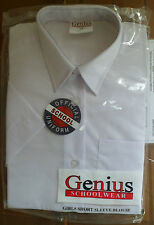 NEW GIRLS GENIUS SCHOOL BLOUSE WHITE AGE 3 -4 YEARS SHORT SLEEVES