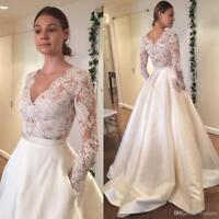 Cheap Simple Wedding Dresses Bolero Lace Top Bridal Gowns A Line Long Sleeves