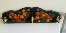 Vintage Large Floral Lacquered Coat Hook Rack