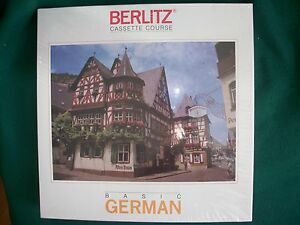 BERLITZ CASSETTE COURSE BASIC GERMAN Brand New/Unopened-Complete-30 Lessons+BOOK
