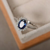 1.80 Ct Oval Natural Diamond Blue Sapphire Gemstone Ring 14K White Gold Rings