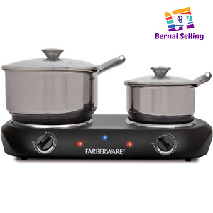 1800W Electric Cooktop Double Burner Portable Lightweight Safe Kitchen Cooking