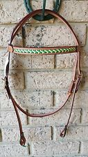 split head bridle ri9 with platted brow band green gold